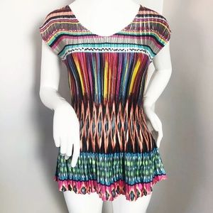 Milano Colourful Pleated Blouse Top Sleeveless